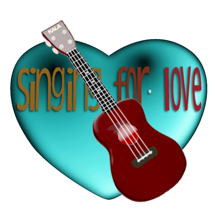 Image of a ukulele and a Sining For Love banner draped across a heart.